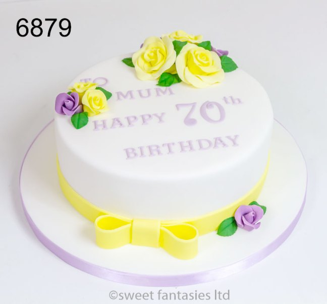 70th birthday cake with lemon & lilac roses