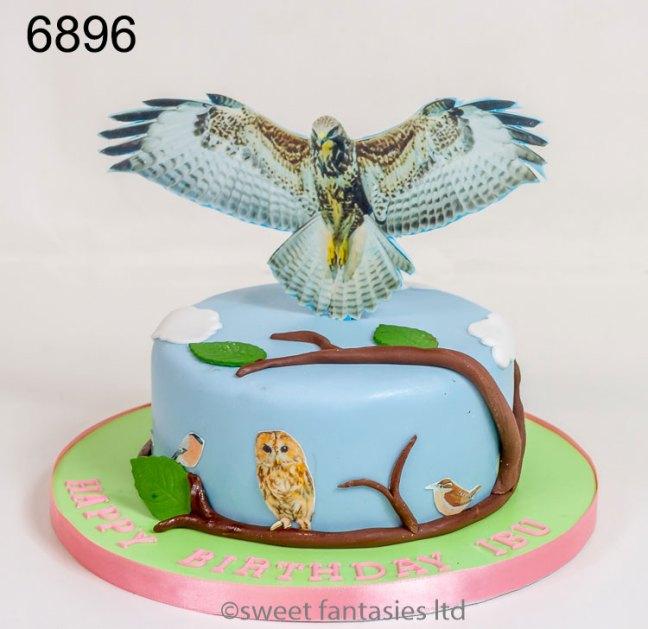 ladies birthday cake with bird of pray