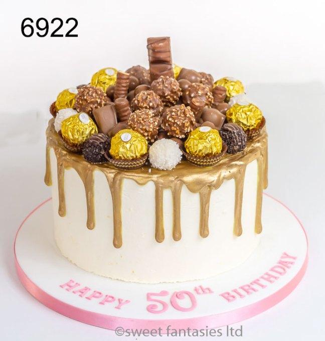 White birthday cake with gold drip, Ferrero Rocher & Chocolates