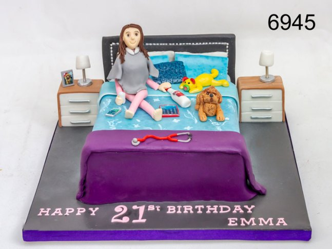 Girl on a bed, 21st cake