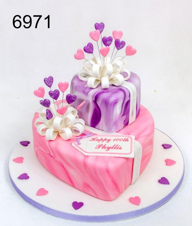 2 tier pink & purple marbled birthday cake