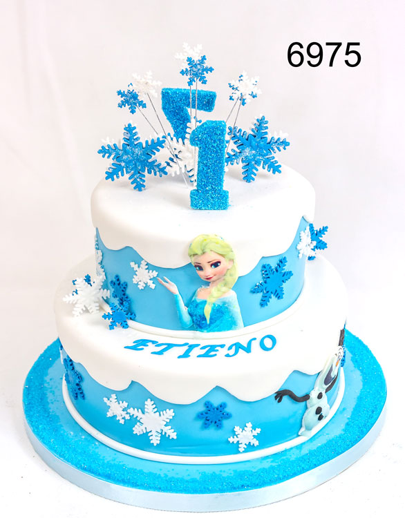 6975 - 2 Tier, 2 sided Frozen girls birthday cake, for 1 year old & 7 year old. cake by sweet fantasies,