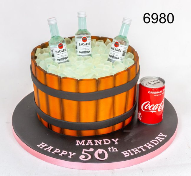3D ice bucket (barrel) with Bacardi bottles & can of coke