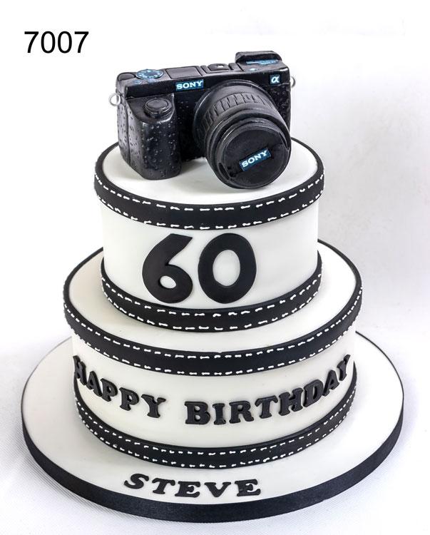 60th birthday cake , 2 tier with camera