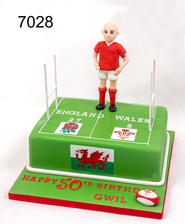 Rugby Player & Pitch - Sports Birthday Cake