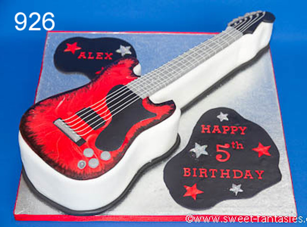 2D guitar birthday cake - sweet fantasies