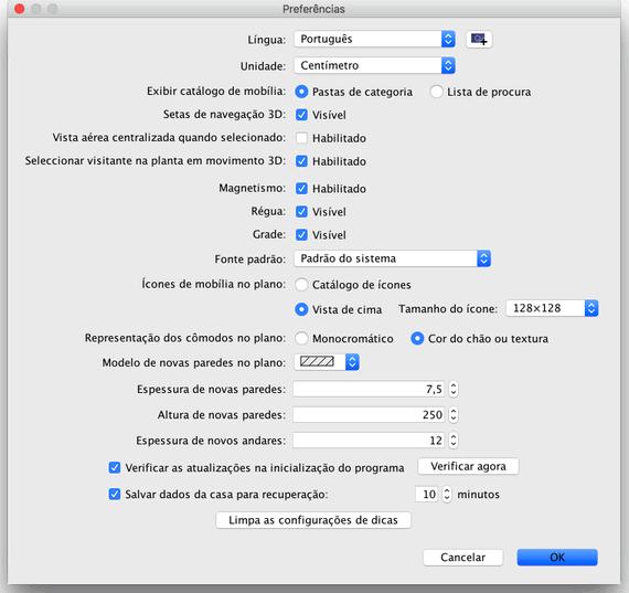 Editing preferences