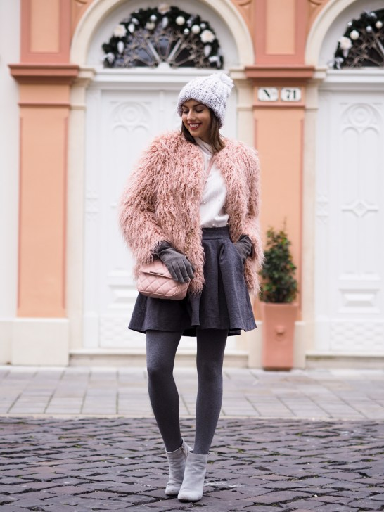 pink fur coat & wool skirt1