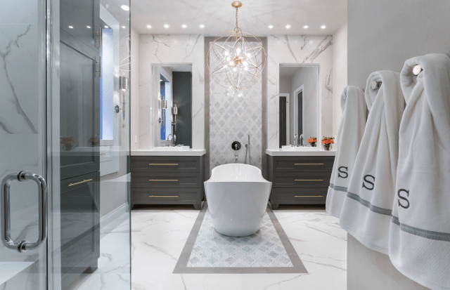 Master Bathroom Renovation Gold Gray & Cobalt