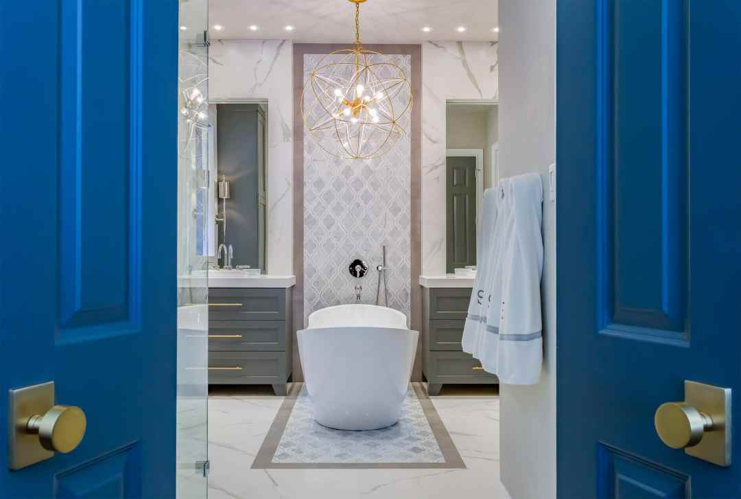 Master Bathroom Renovation | Gold, Gray & Cobalt | Spring Valley | Houston, TX | 2016