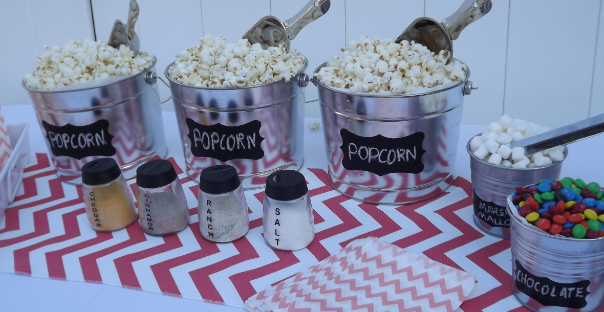 coral chevron popcorn bar