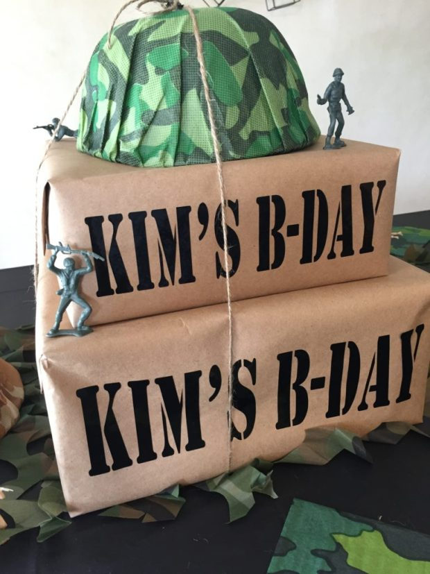 Army Camouflage 60th Birthday Party - DIY personalized camo centerpieces SweetLaneEvents.com