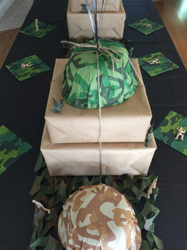 Army Camouflage 60th Birthday Party - putting together the rest of the table SweetLaneEvents.com