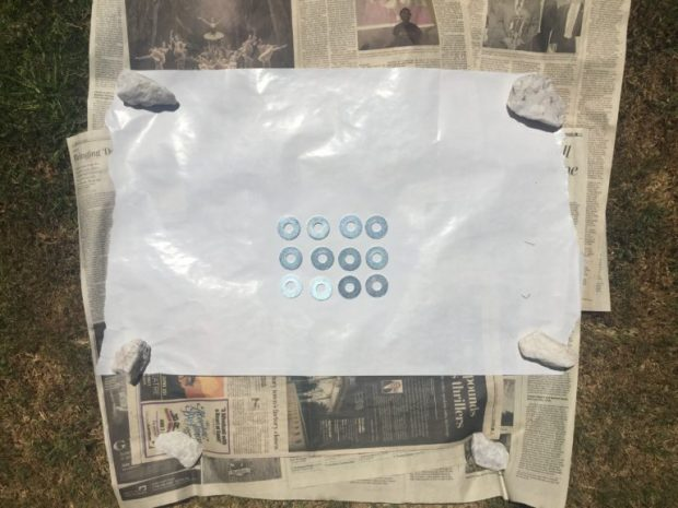 """Hidden Tablecloth Weights - Layout the 1/2"""" washers with the blank side up- SweetLaneEvents.com"""