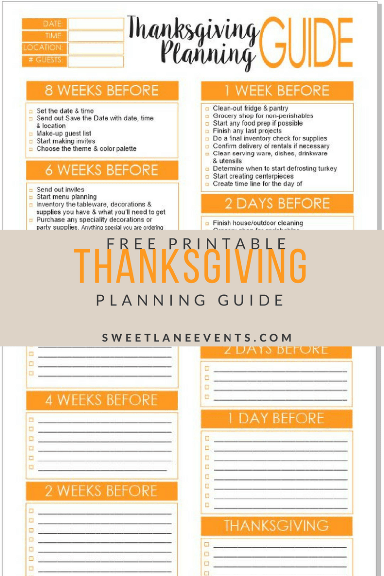 Helpful planning guide for Thanksgiving - Sweet Lane Events