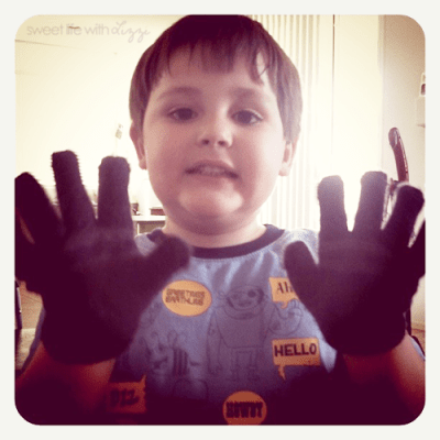 Beau and his gloves in 90 degree weather.