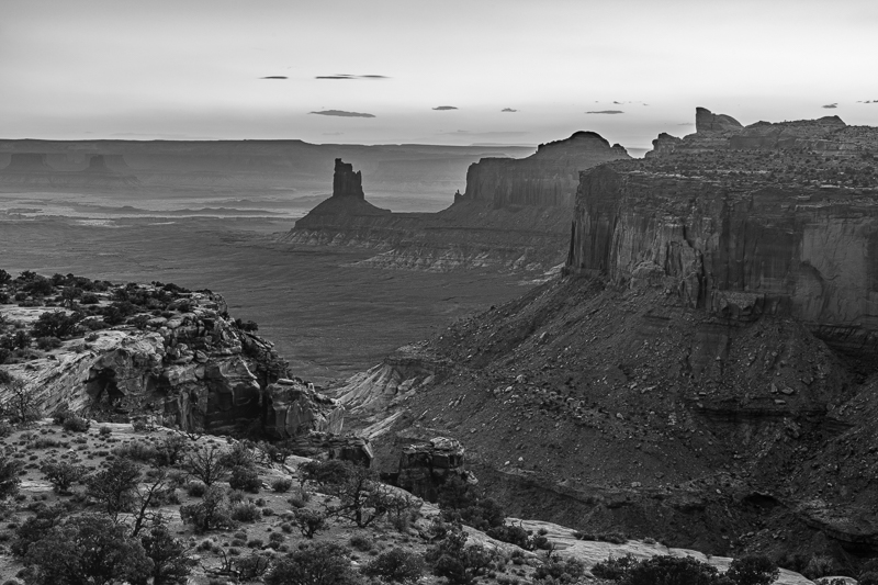 Candlestick Butte at Sunset in Black and White