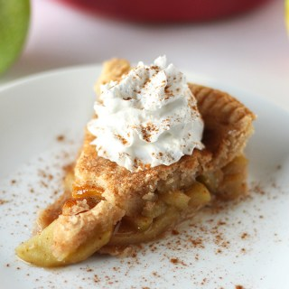 Good old fashioned apple pie in vegan form! This is literally the best apple pie ever, with an easy flaky crust and a amazing filling of tart apples enrobed in cinnamon and sweetness!