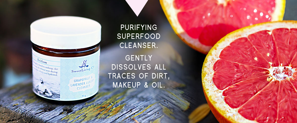 Paleo Grapefruit & Lavender Organic Cream Cleanser by Sweet Living Co. For all skin types. Best natural cleanser with grapefruit and lavender. Cleansing balm.