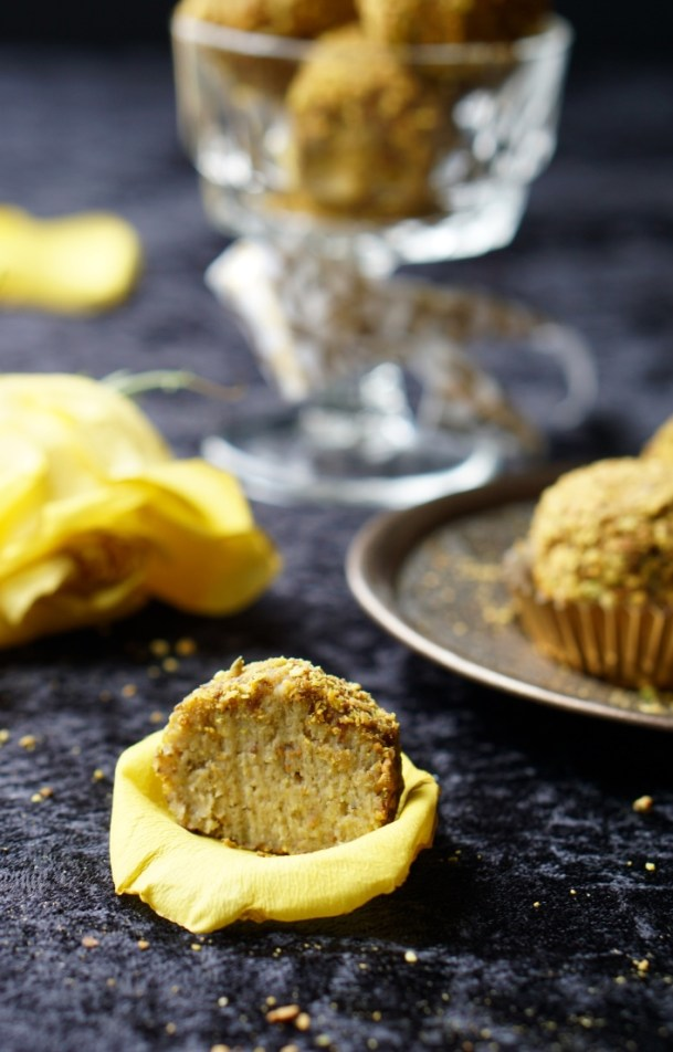 Healthy Indian-Inspired Banana Pistachio Protein Bites