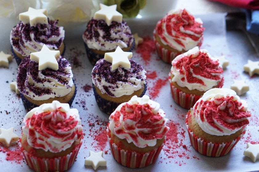 Healthy Red, White and Blue Cupcakes