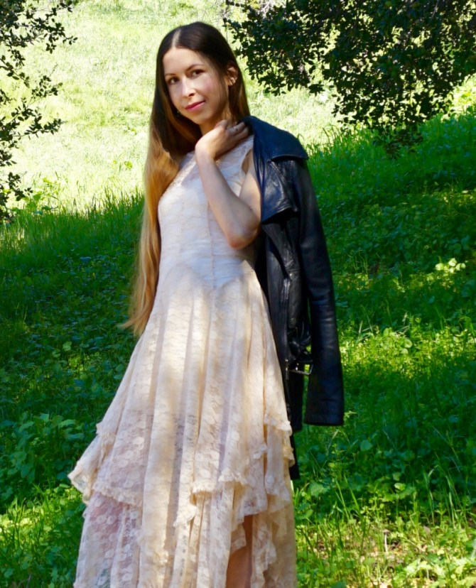 A Romantic White Lace Dress and an Edgy Leather Jacket