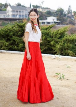 Red Maxi Skirt-40