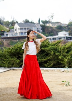 Red Maxi Skirt-44