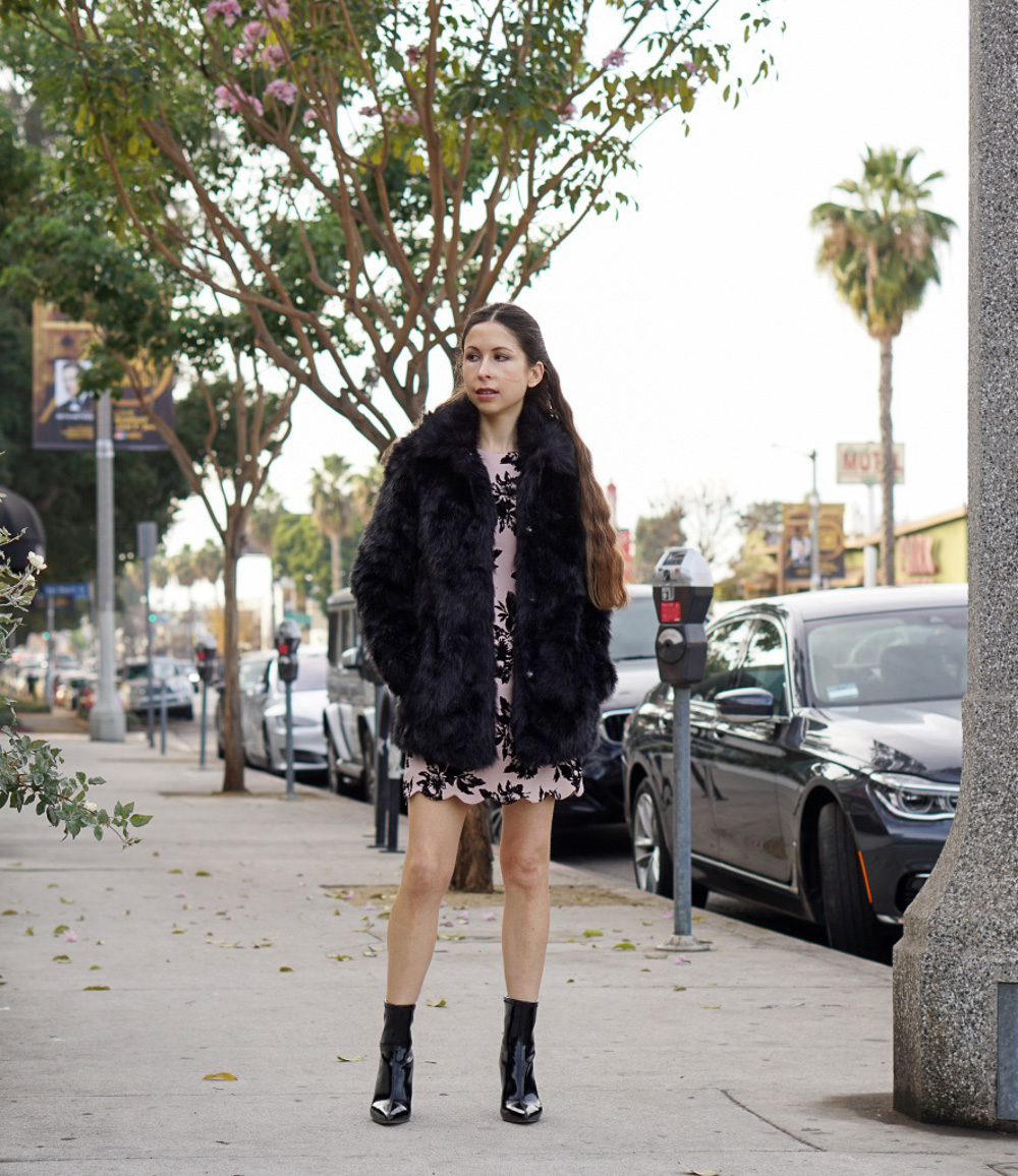 Black Faux Fur Jacket and Pink Shift Dress