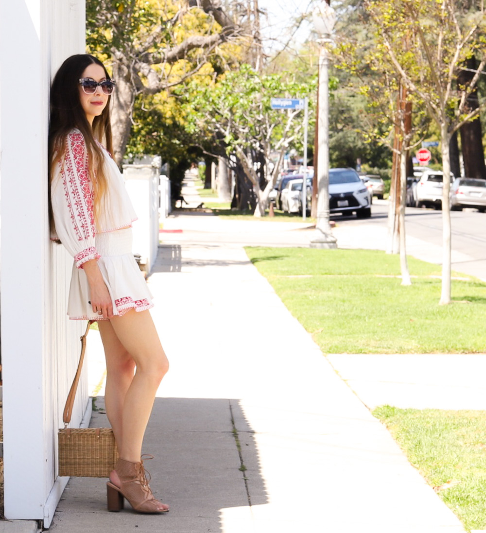 Crocheted White Top & Shorts Set and a Straw Bag