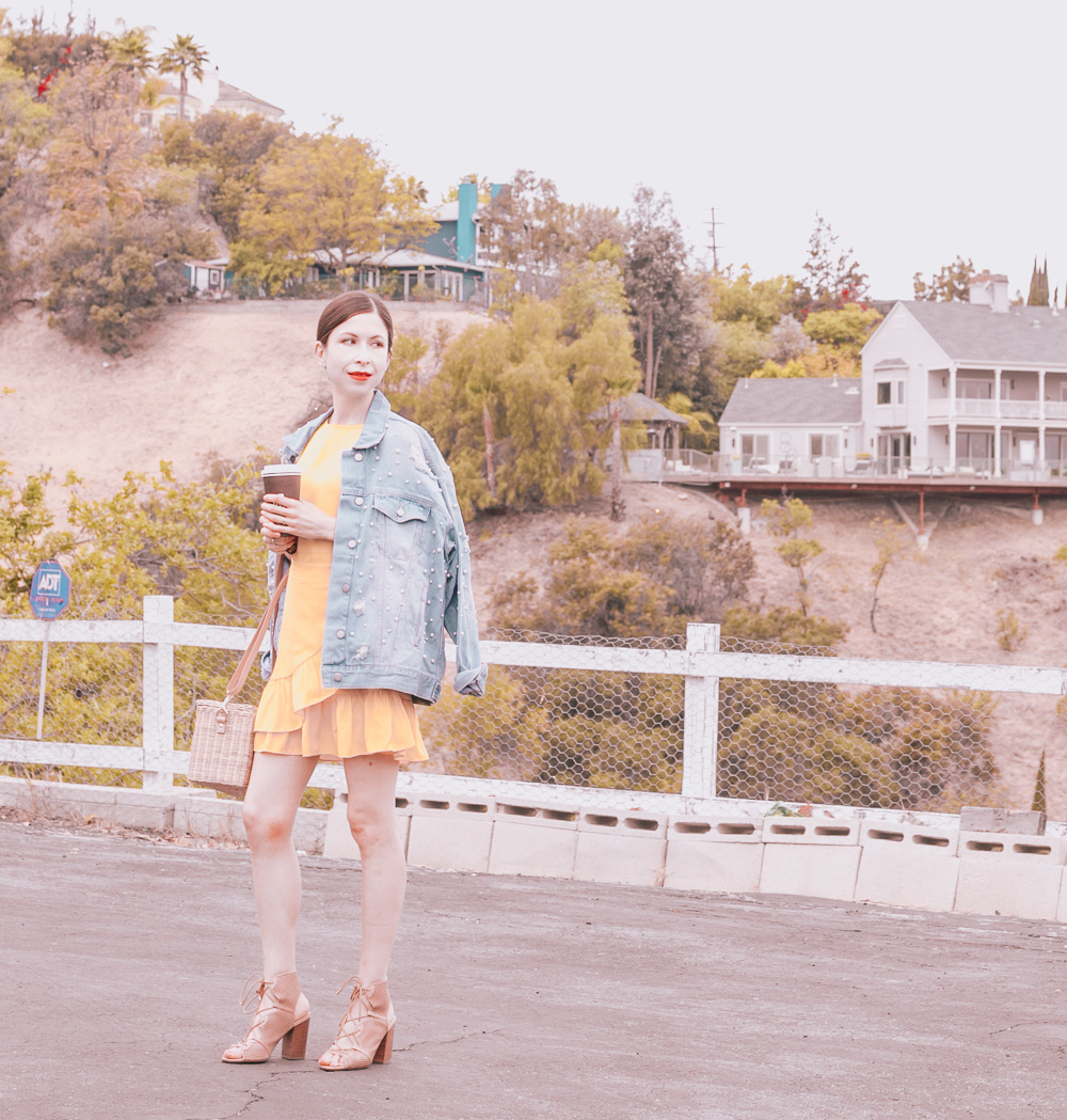 Yellow Dress and Pearl Studded Denim Jacket