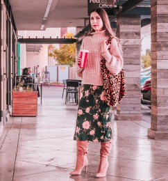 Green Slip Dress, Leopard Print Bag and a Pink Sweater