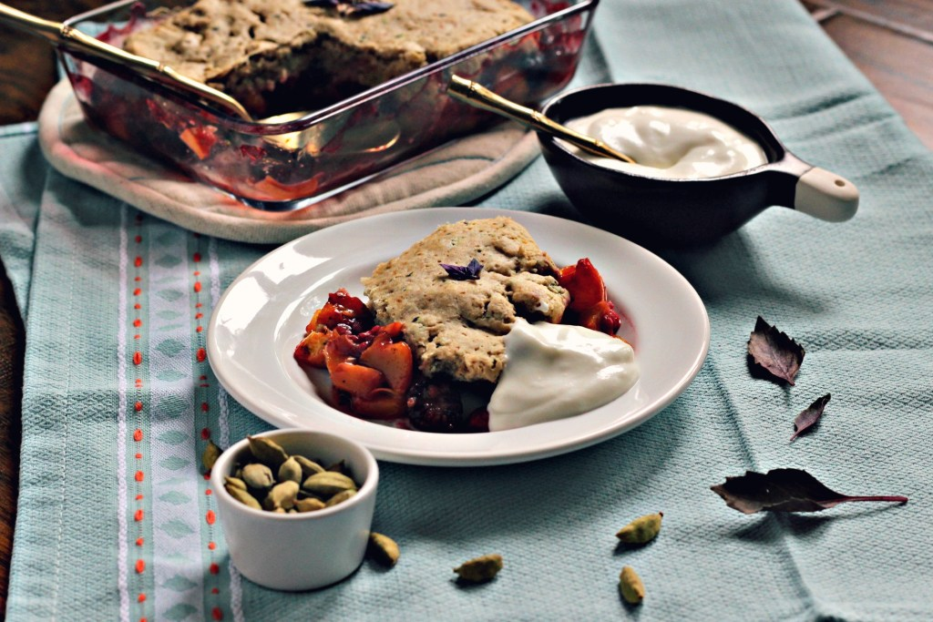 berry peach breakfast cobbler with basil & cardamom