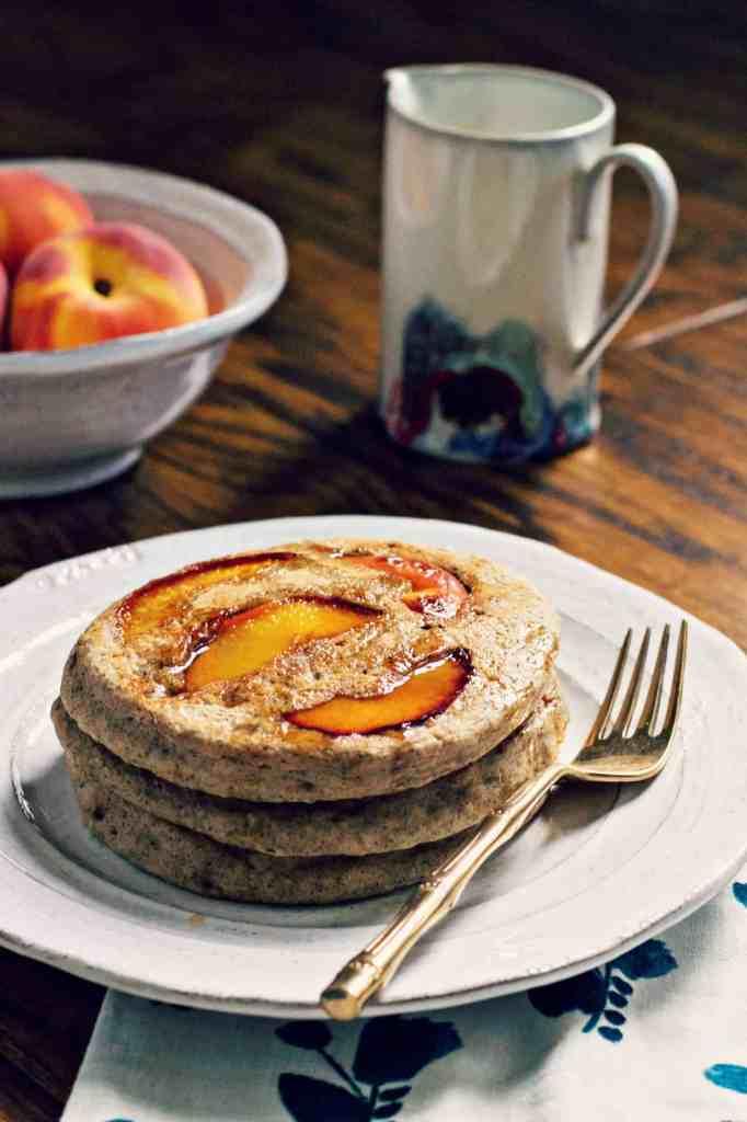 spiced maple peach pancakes | via sweet miscellany