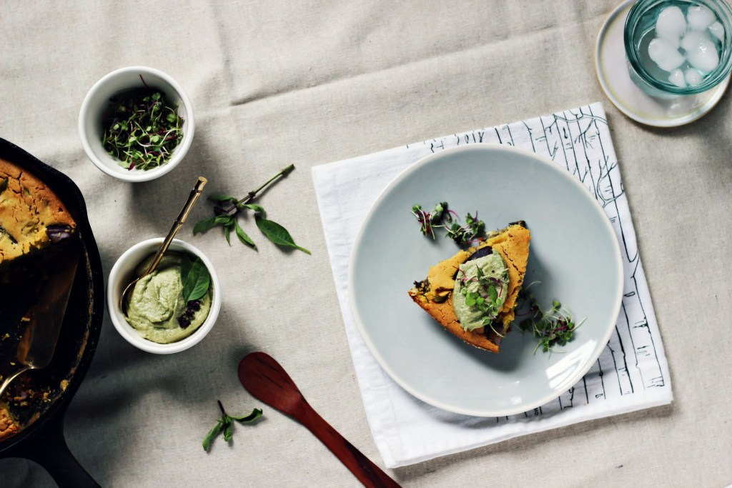purple potato chickpea frittata with thai basil sunflower aioli | via sweet miscellany