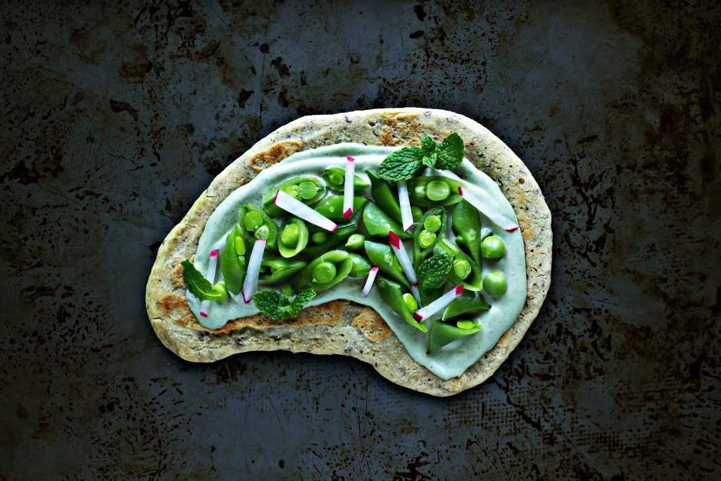 millet flatbread with snap peas & mint cashew ricotta | via sweet miscellany