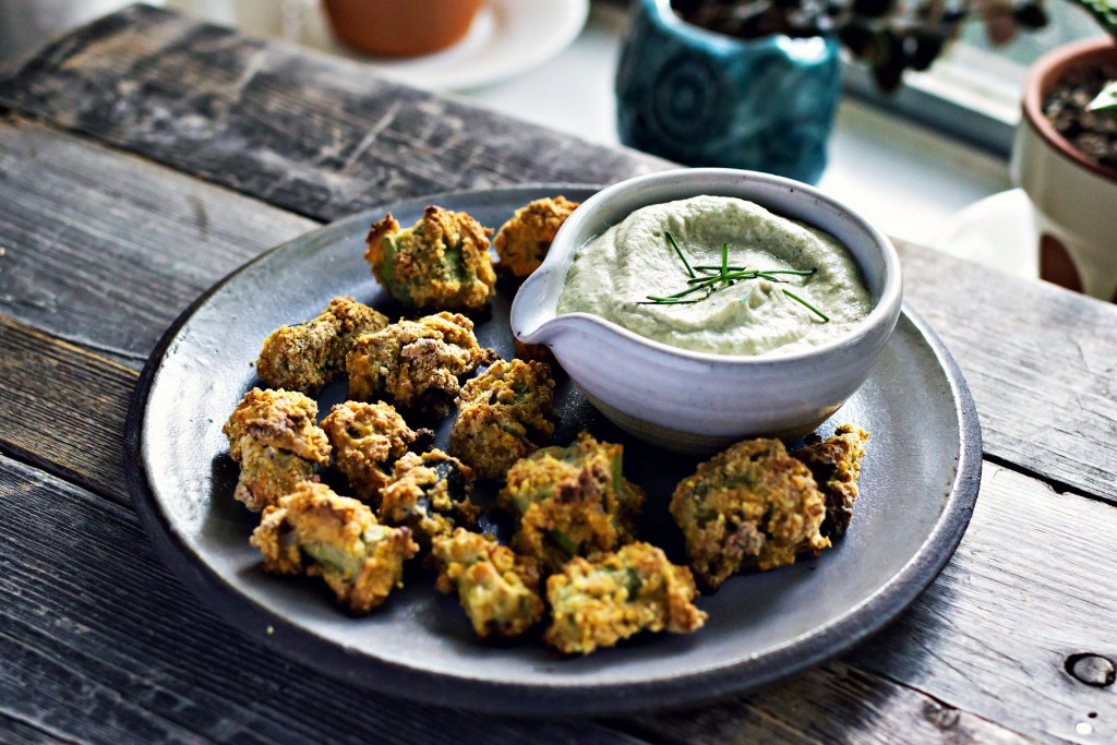 oven fried okra with sunflower cider dip | gluten-free plant based recipes via sweet miscellany