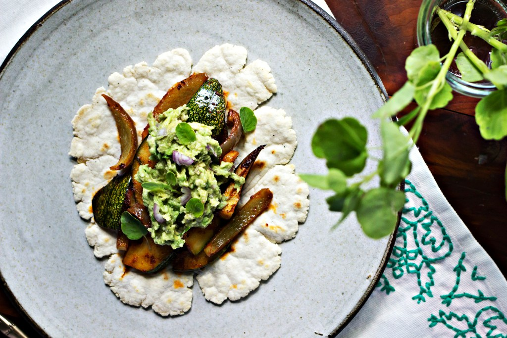 loam collaboration: summer squash tacos with papalo guacamole | gluten free plant based recipes via sweet miscellany