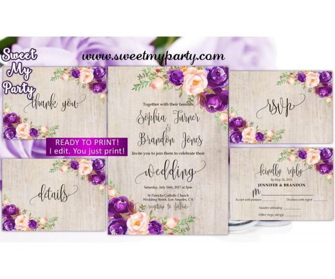 Purple Wedding Invitation Suite Lilac Set 64w