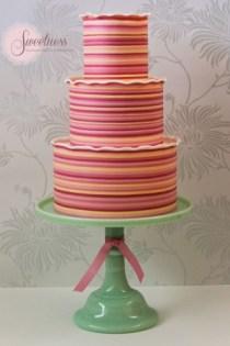 Stripe wedding cake, wedding cakes london, bright and bold wedding cakes
