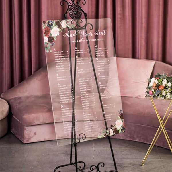 plan de table panneau plexi fleurs