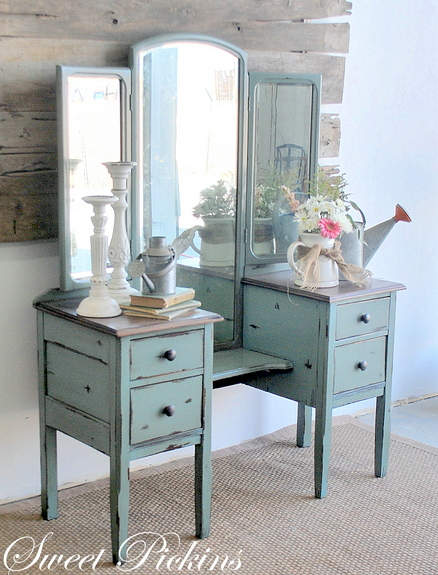 painted antique vanity - Moody Blue Antique Vanity/Dressing Table} – Before & After Sweet