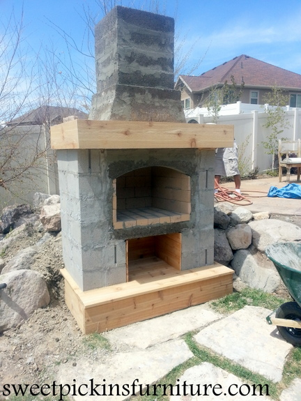 {Backyard Fireplace} - Part 2 | Sweet Pickins Furniture on Building Outdoor Fireplace With Cinder Block id=59811