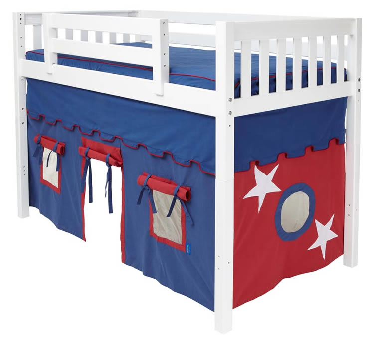 boy s tent mid loft bed by maxtrix kids blue red on white 400 1