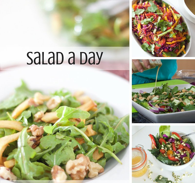 A big, green salad a day provides so many benefits. Join me for a salad a day every day. Healthy and full of vitamins and minerals.