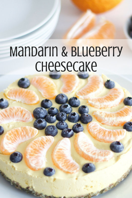 A creamy mandarin cheesecake combining the citrus tang of mandarins with the sweetness of blueberries. It is dairy free, gluten free and refined sugar free.