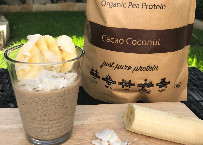 This coconut chia pudding recipe is super easy to make. Mix chia seeds, almond milk and protein powder together and allow to set for a high protein snack.