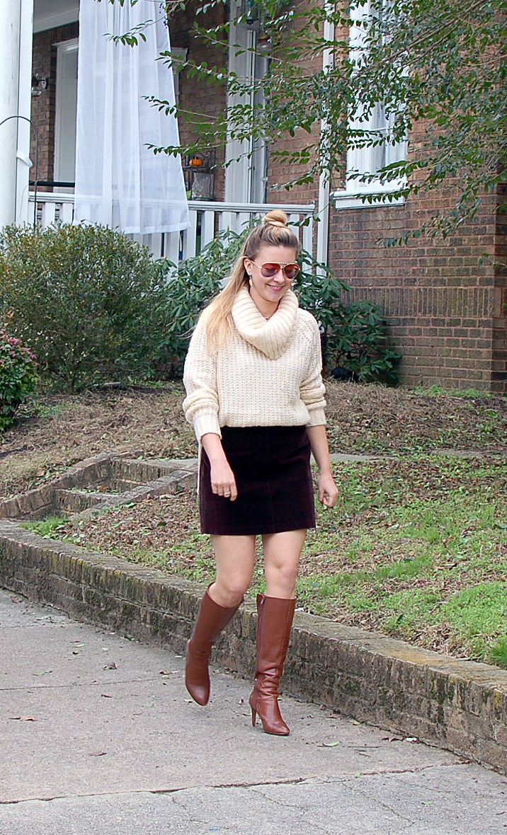 455a6895455 rva fashion blog velvet mini skirt outfit thick cream sweater ...