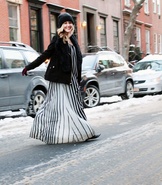 striped maxi during the winter new york