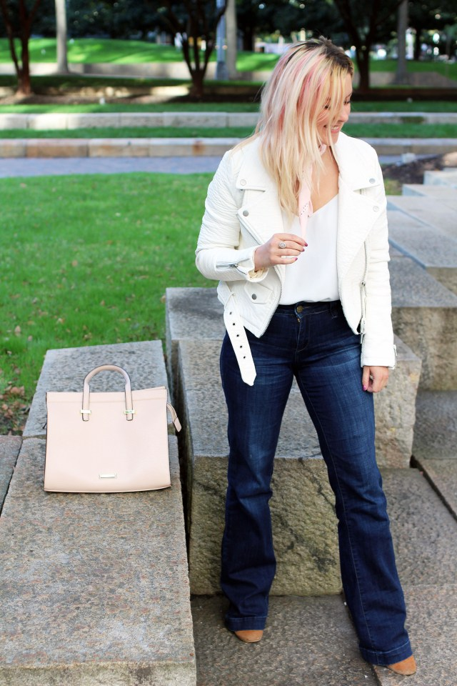 white leather jacket outfit